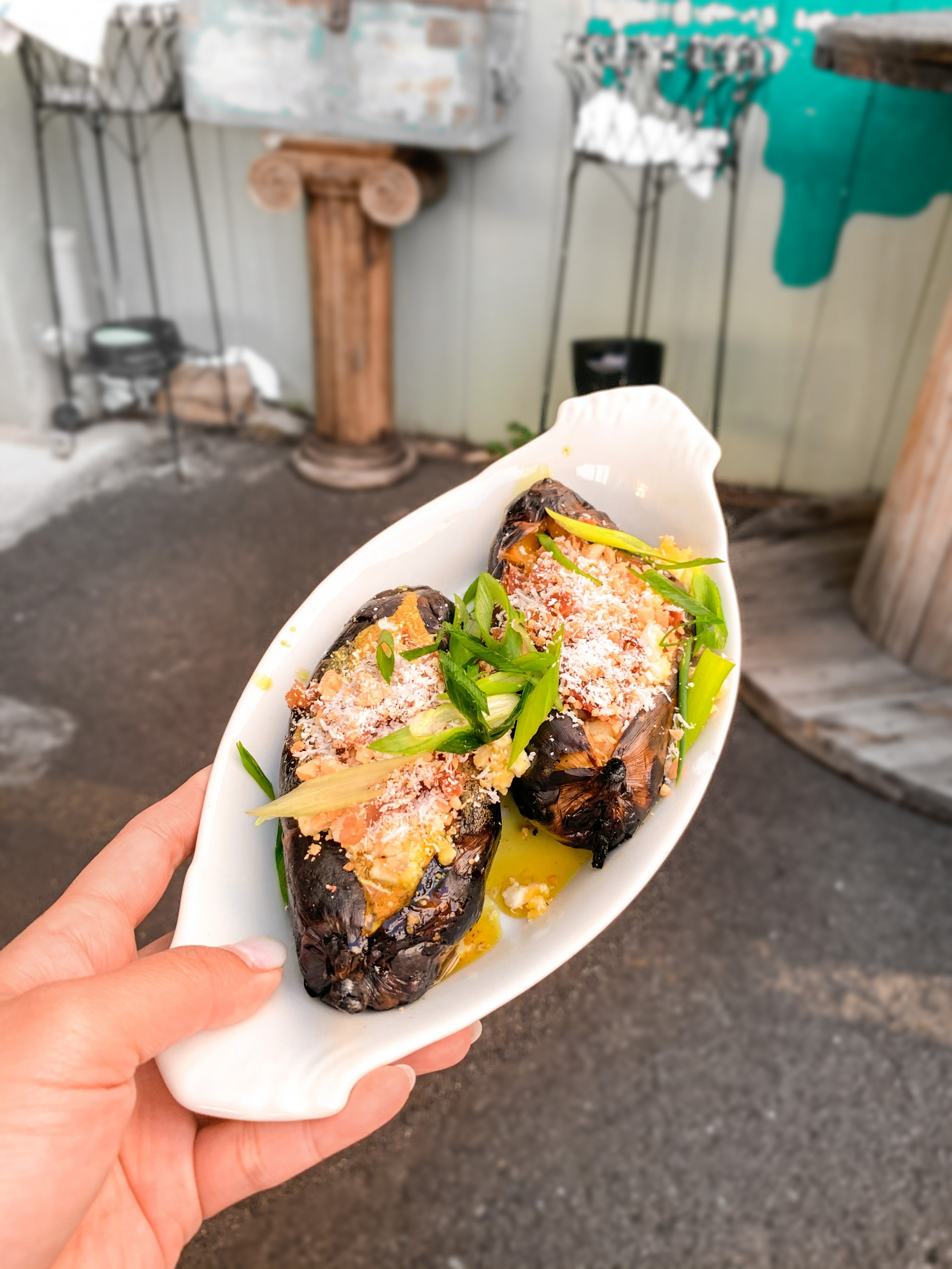 Places to eat in Oahu, Hawaii - Loaded Baked Banana at Mud Hen Water
