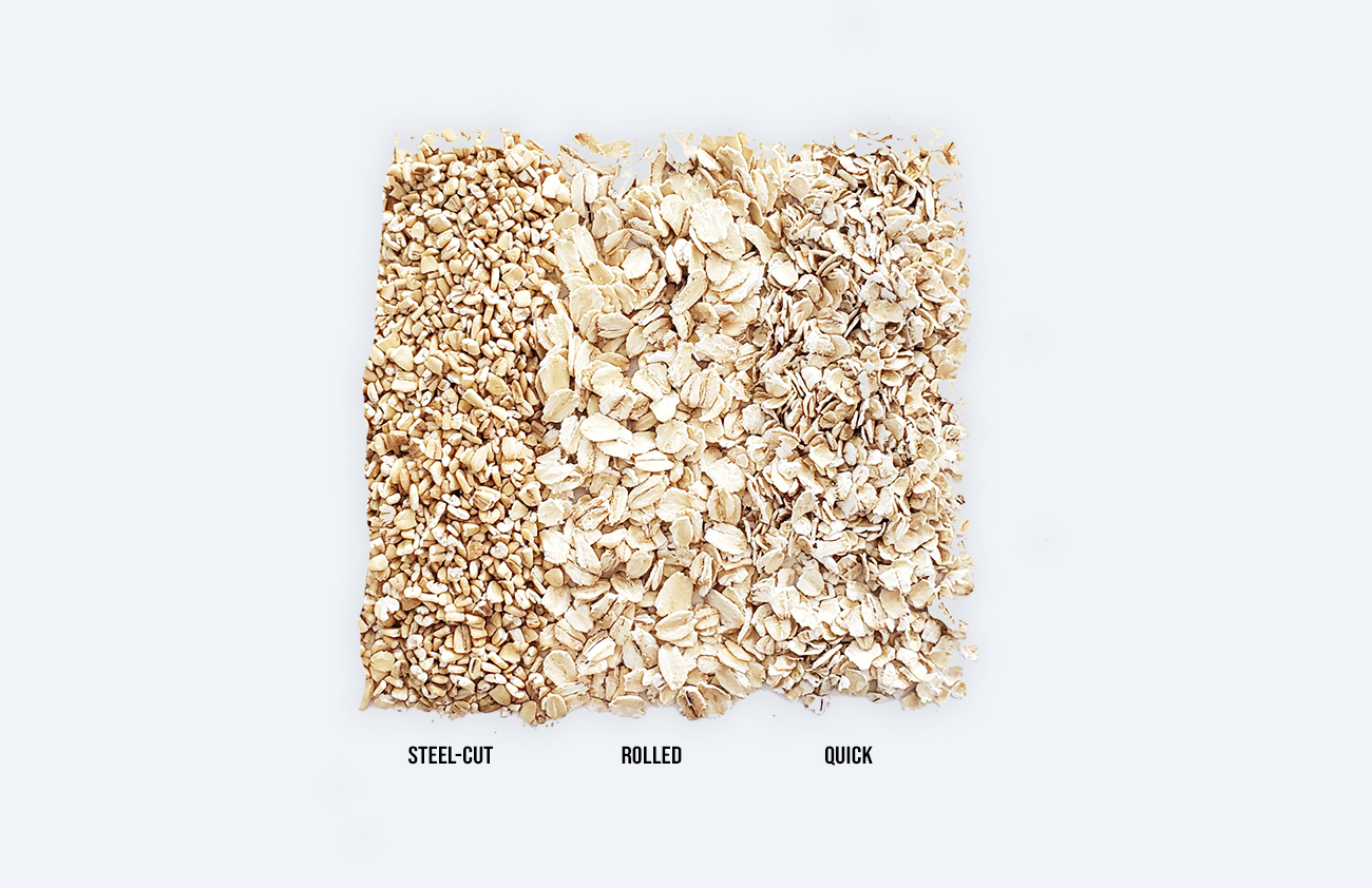 types of oats - steel-cut, rolled, quick