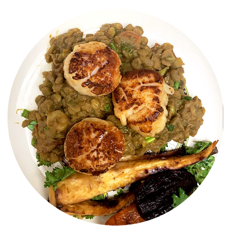 winter comfort food - scallop and lentils