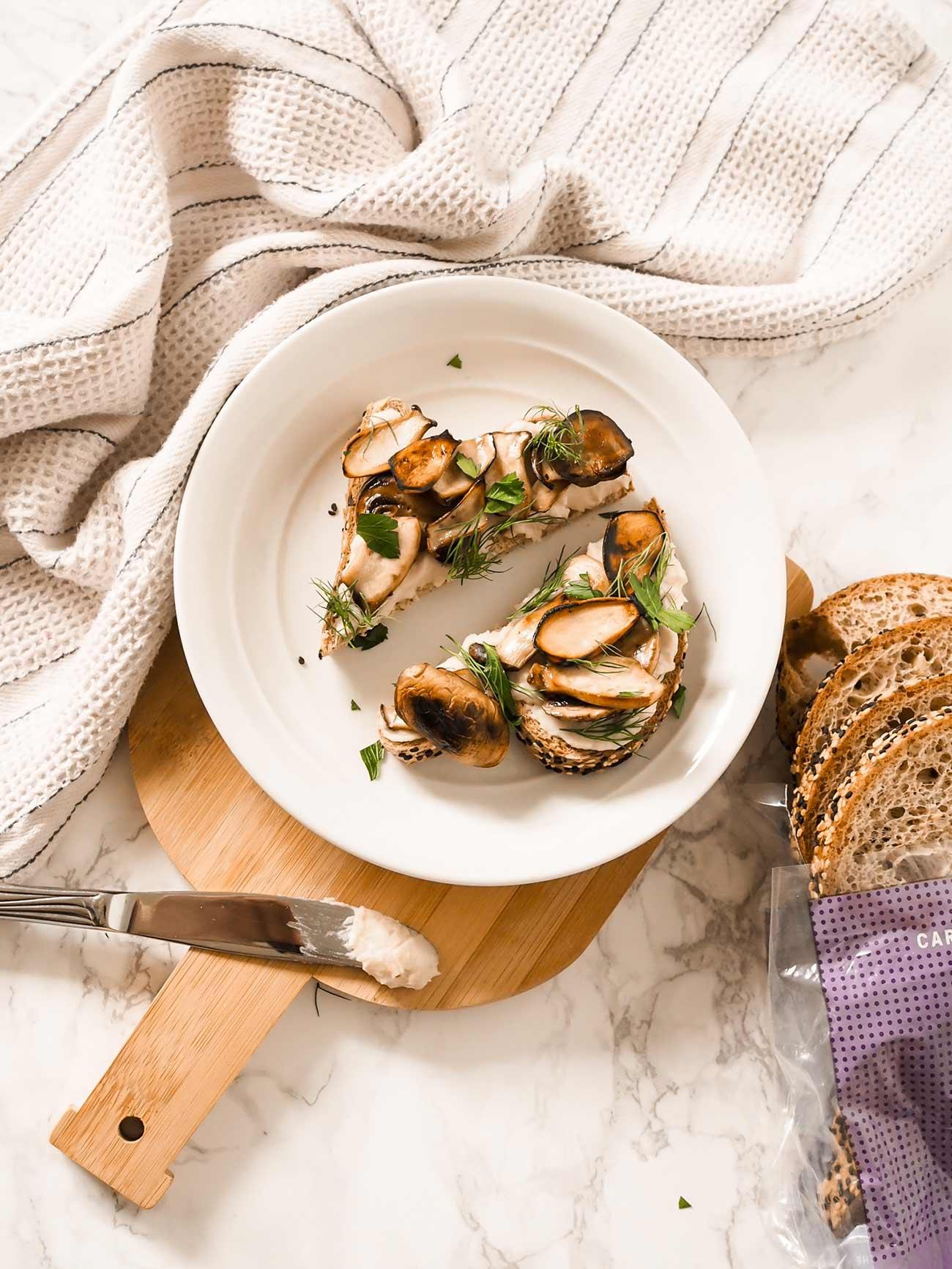 toast ideas - mushroom toast with white bean spread