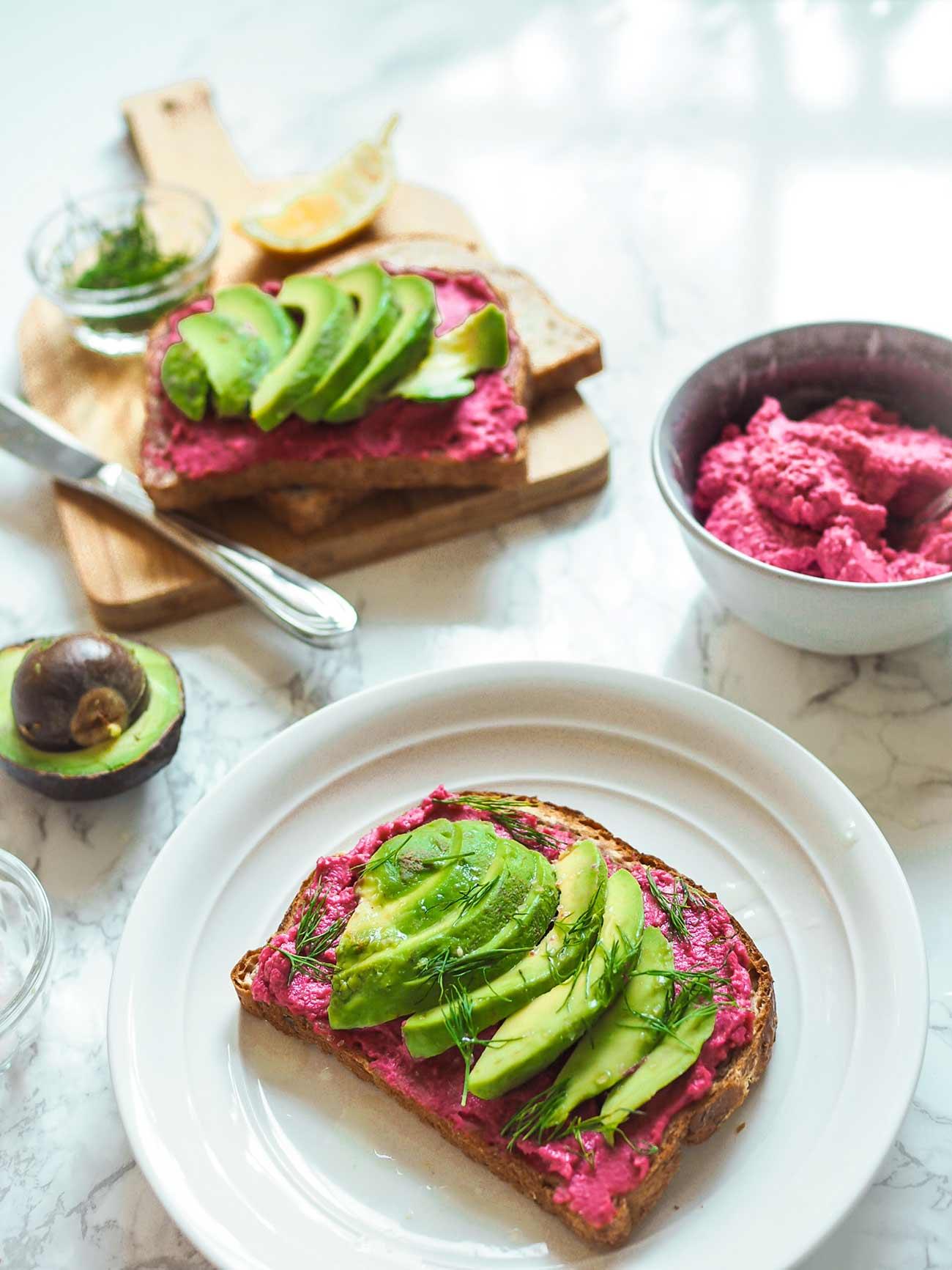 toast ideas - avocado beet hummus toast