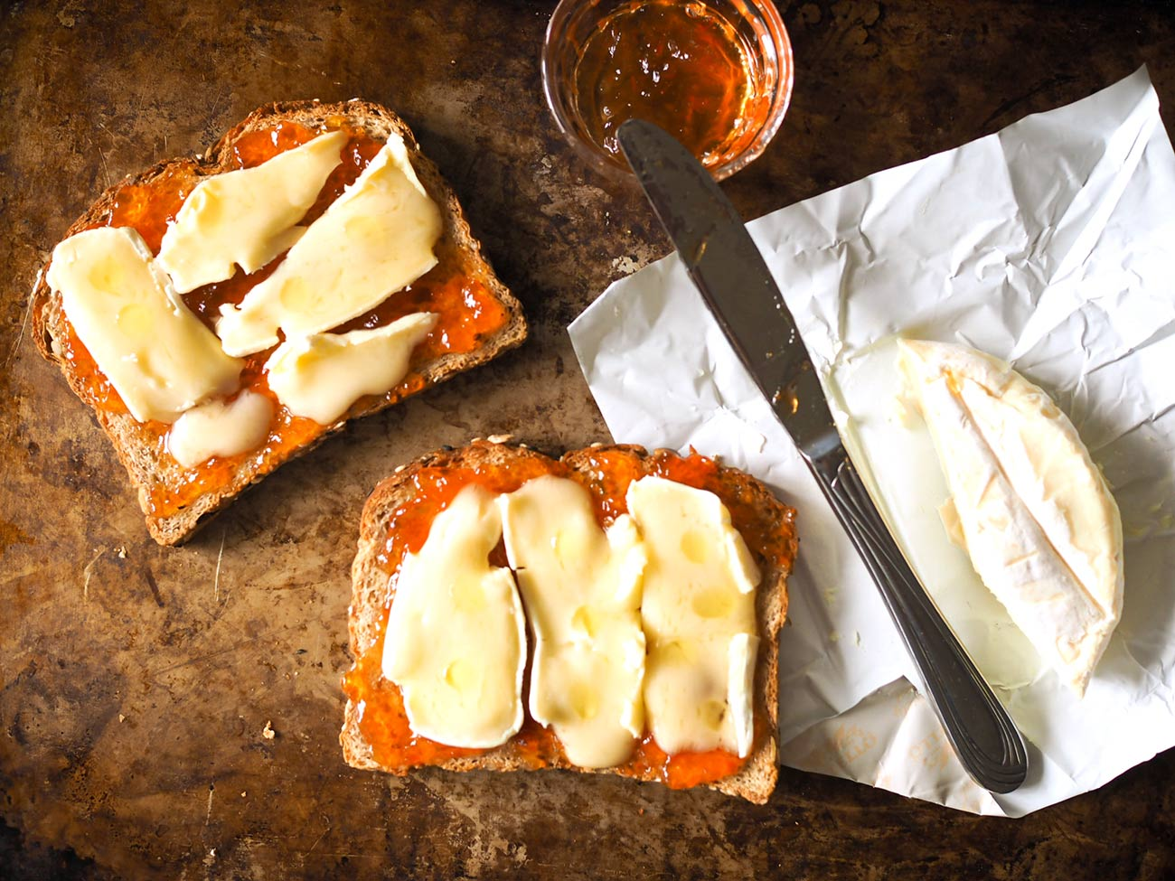toast ideas - brie with red pepper jelly